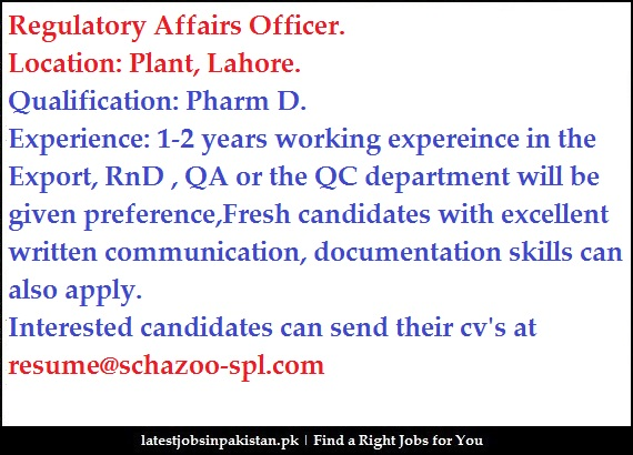 drug regulatory affairs cover letter