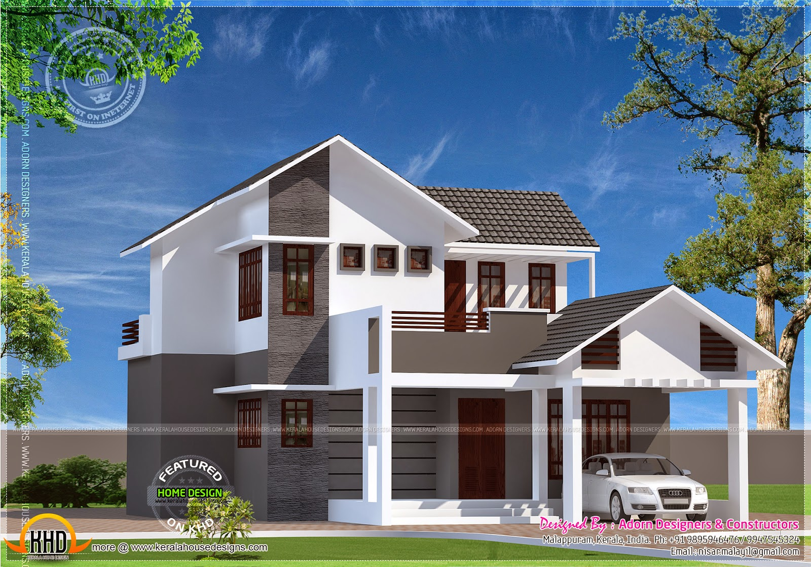 June 2014 kerala home design and floor plans for Sloped roof house plans in india