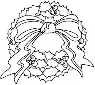 Christmas wreath decorating ideas coloring page with ribbon,mistletoe drawing line art black and white image for children to apply colors
