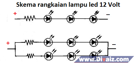 Skema rangkaian lampu led 12 V - www.divaizz.com
