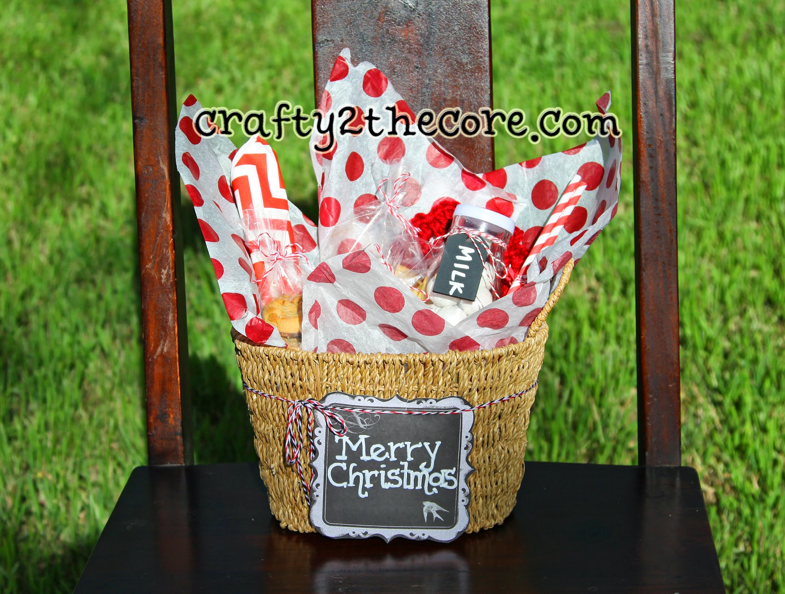 Gift Idea Basket with Cookies, milk jar, straws, napkin, candy, crochet coaster.
