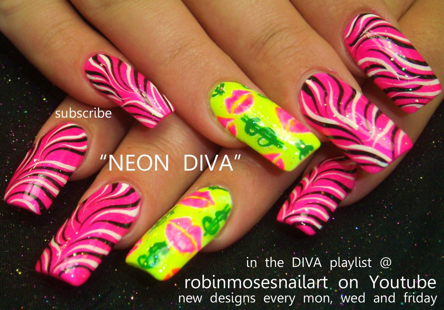 Nail Art Design: neon zebra nail, pink and yellow neon, yellow neon ...
