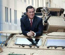 Stephen Colbert in a tank