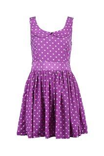 Polka Dots Purple Shift Dress