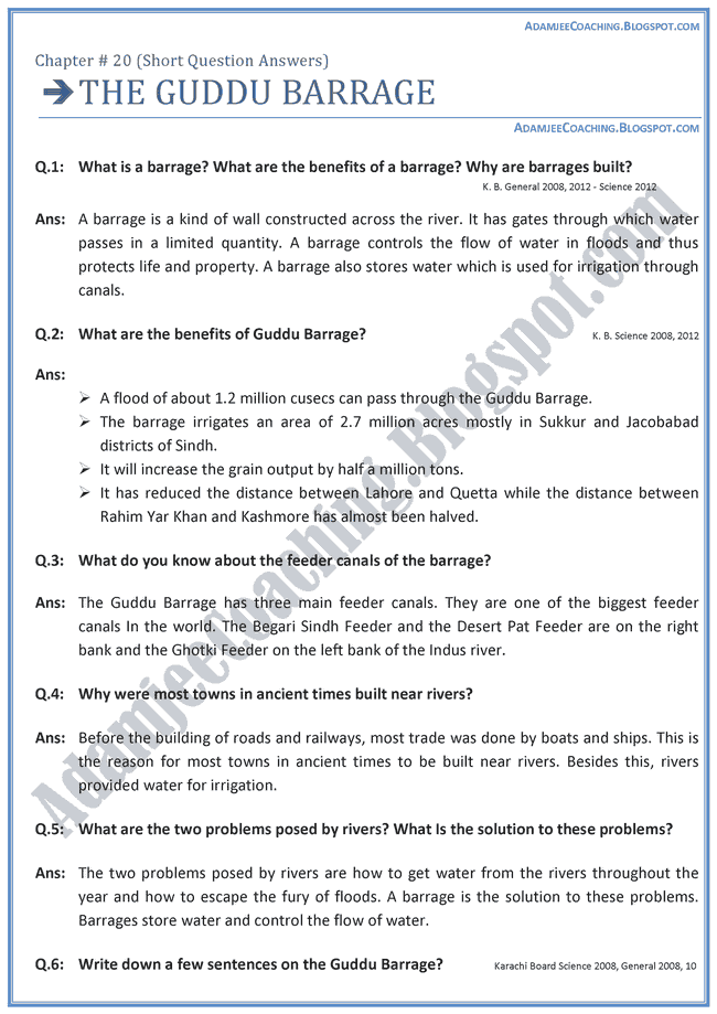 the-guddu-barrage-short-question-answers-english-ix