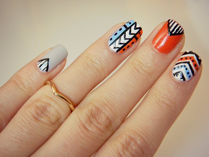 Love from Lisa Aztec Print Nail Design