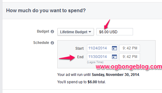 facebook lifetime budget