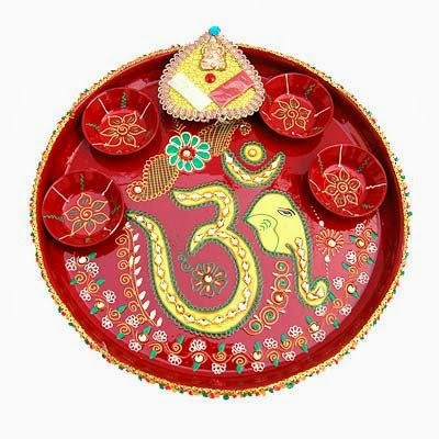 Pin pooja items online hindu hd on pinterest for Aarti thali decoration ideas for ganpati
