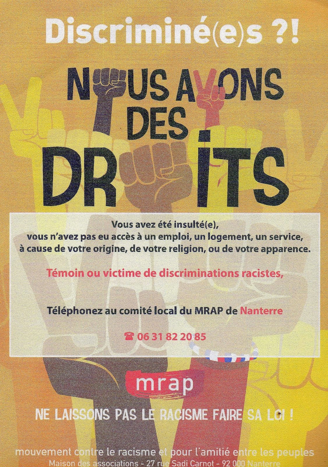 Pour contacter le MRAP à Nanterre   mrap.nanterre@orange.fr