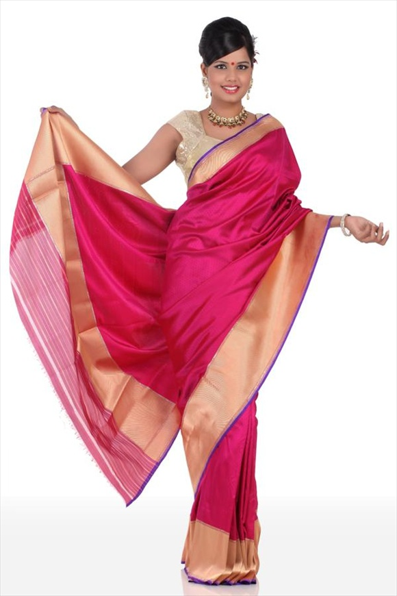 Rose Violet Satin Banarasi Saree