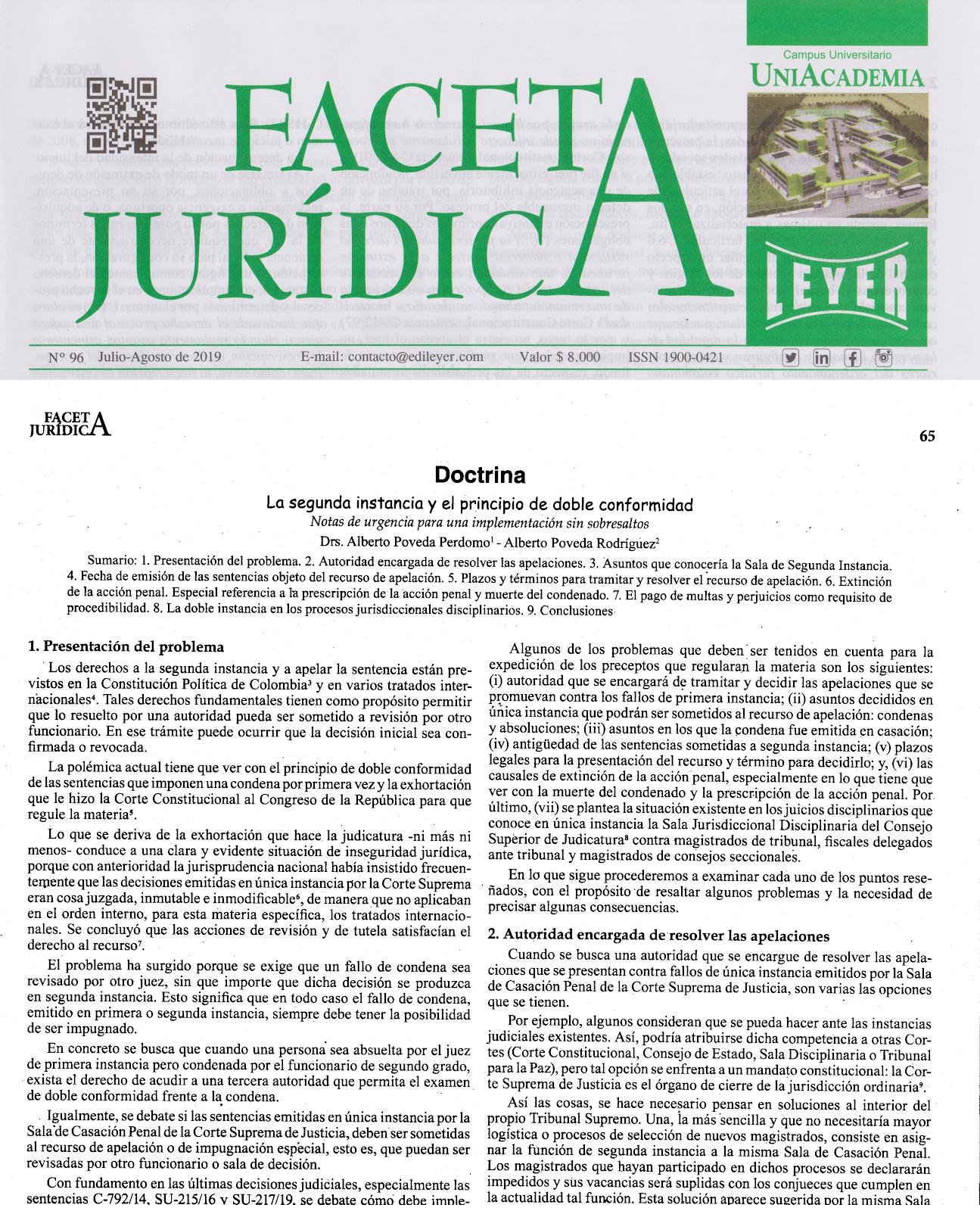 FACETA JURIDICA N° 96 Julio-Agosto de 2019