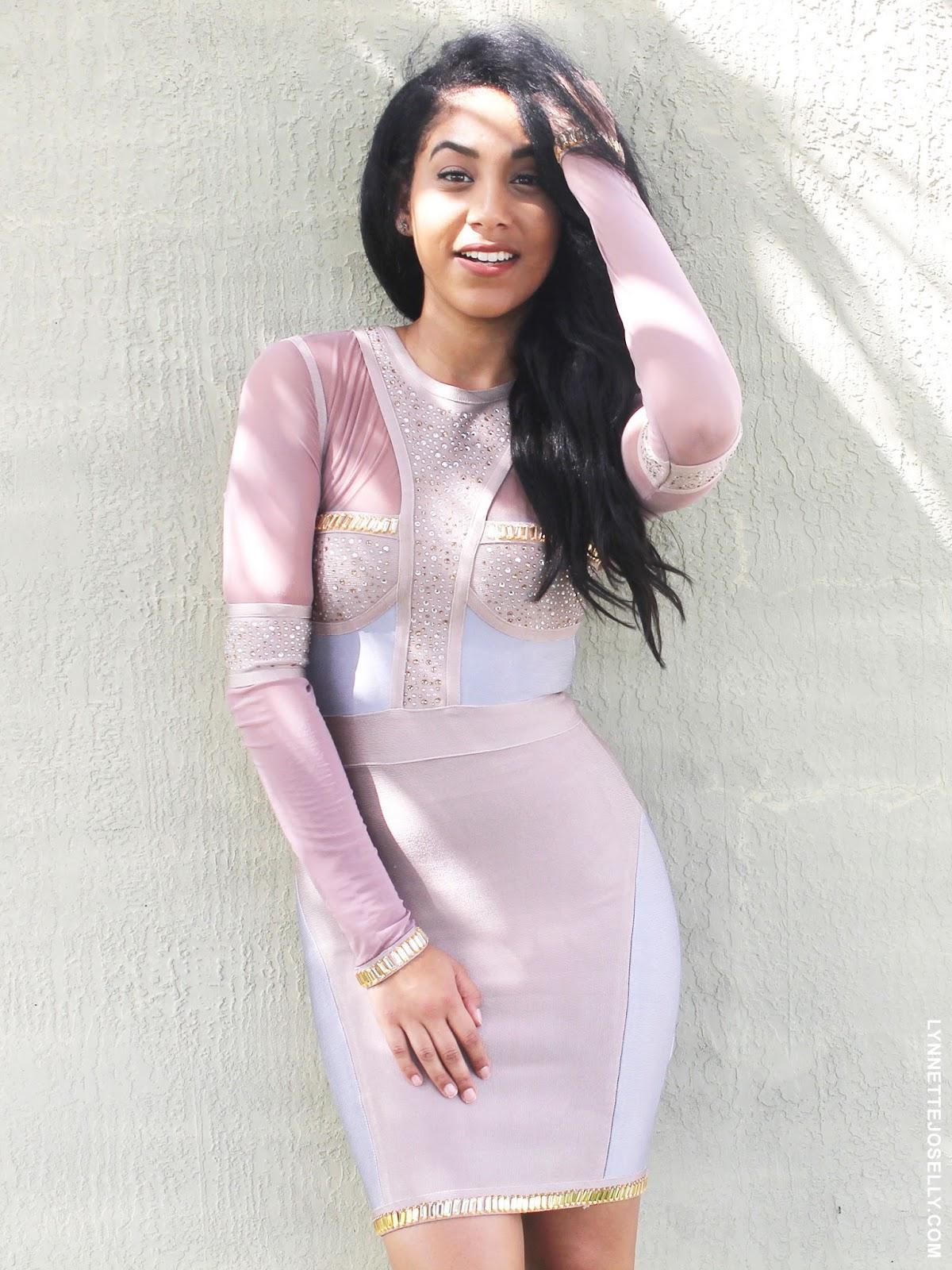 embellished-long-sleeve-bandage-dress