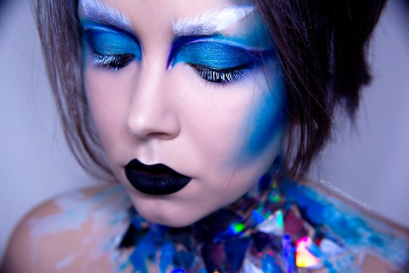 niebieski makijaz, frozen make-up