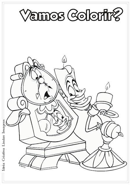 Lumiere e Horloge A bela e a fera desenho para colorir