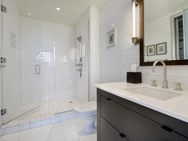 White modern bathroom at South Pointe Modern Apartment, Miami Beach, Florida