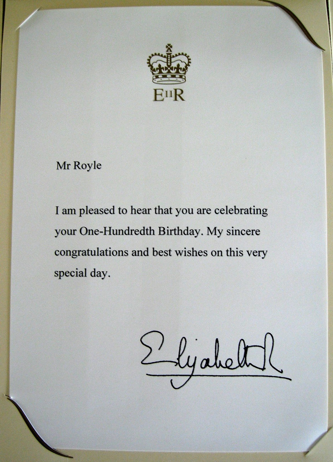 paul royle and his congratulatory letter from her majesty queen elizabeth ii celebrating his 100th birthday