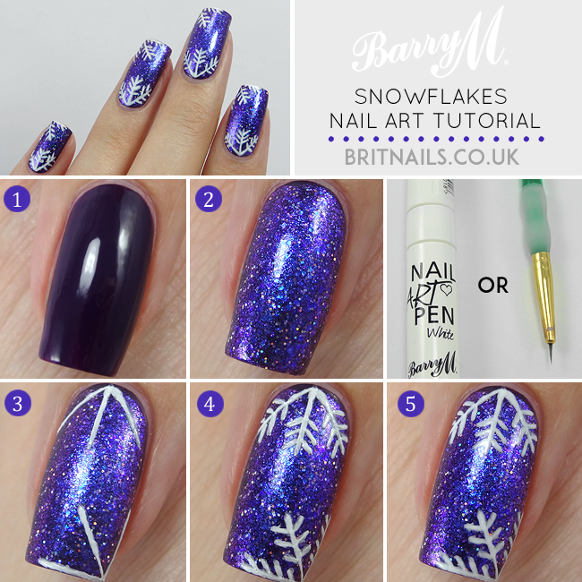 Snowflakes tutorial for barry m brit nails barry m gelly in plum barry m glitterati in fashion icon barry m classic nail paint in white or a white barry m nail art pen steps prinsesfo Choice Image