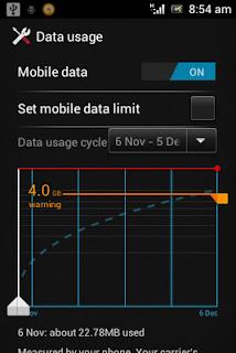 Setting lalu lintas data pada Android 4.0