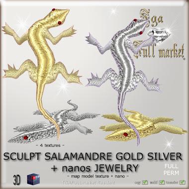 SCULPT SALAMANDRE GOLD SILVER JEWELRY