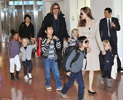 Brad Pitt and Angelina Jolie with the childrens