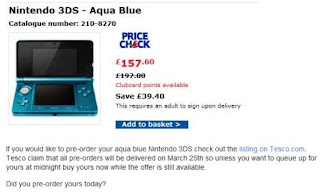 Tesco advert, 3DS price