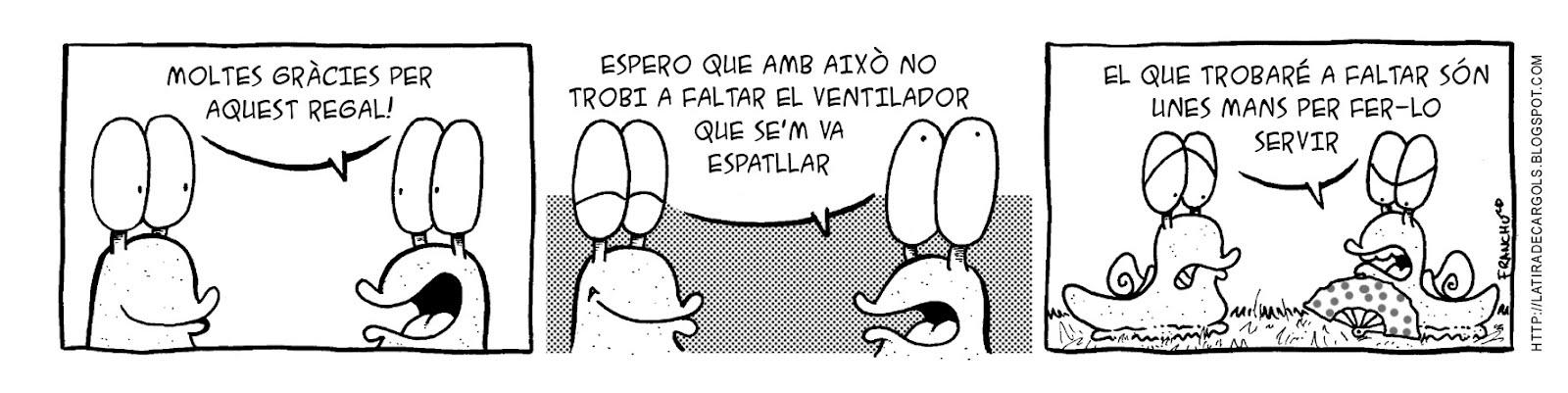 Tira comica 135 del webcomic Cargols del dibuixant Franchu de Barcelona