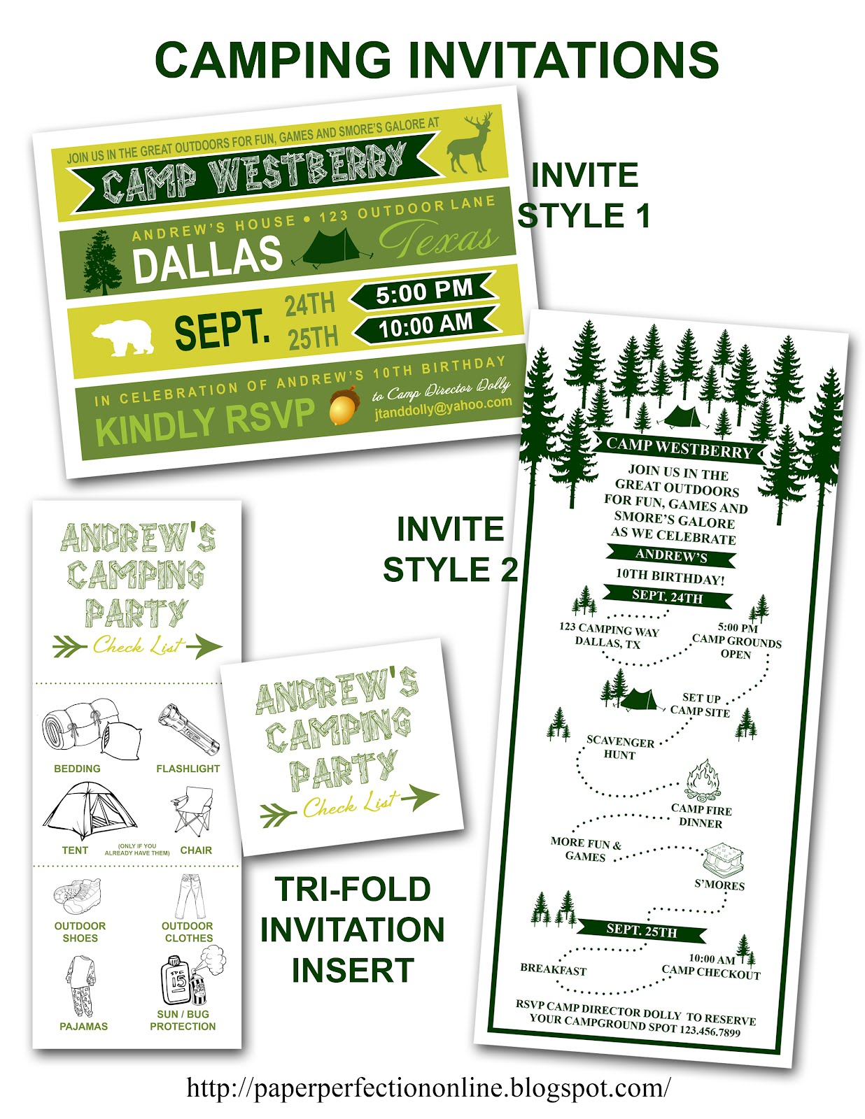 Paper Perfection: Camping Party Invitation