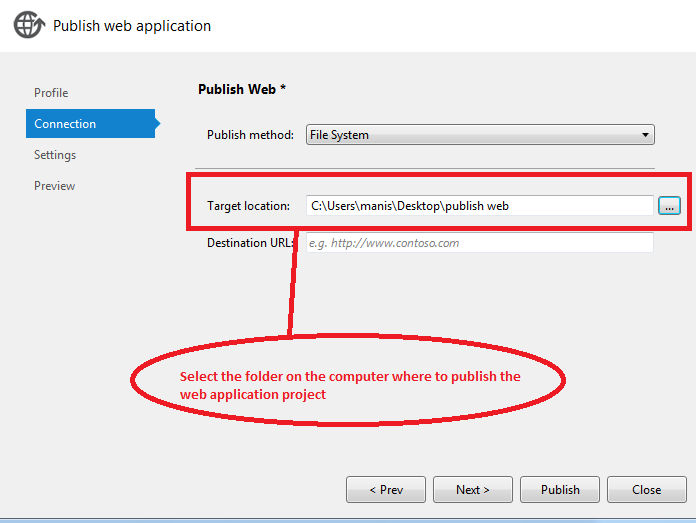 Target location in visual studio 2012