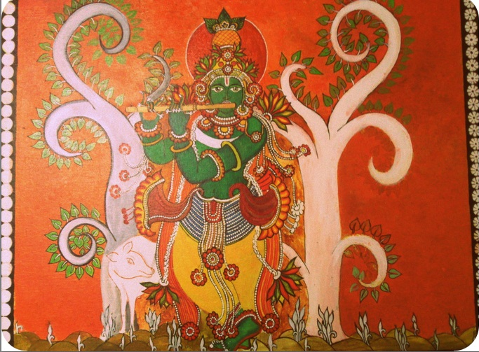 Arts and crafts krishna painting and kerala mural style for Arts and crafts mural