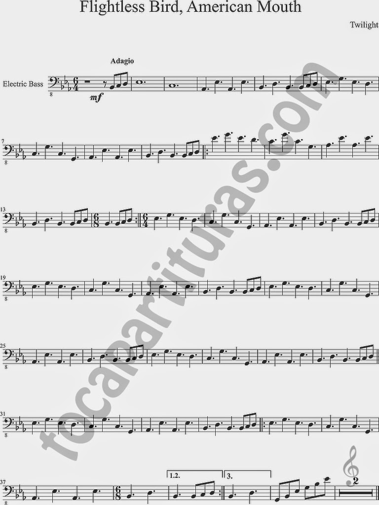Partitura de Flightless Bird, American Mouth para Bajo Eléctrico en Clave de Fa de Crepúsculo Twilight Sheet Music for Bass Guitar in bass clef