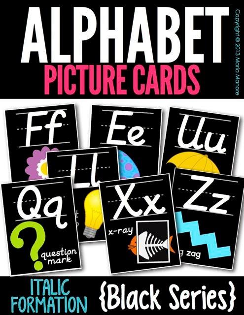 Alphabet Picture Cards Italics Black Series