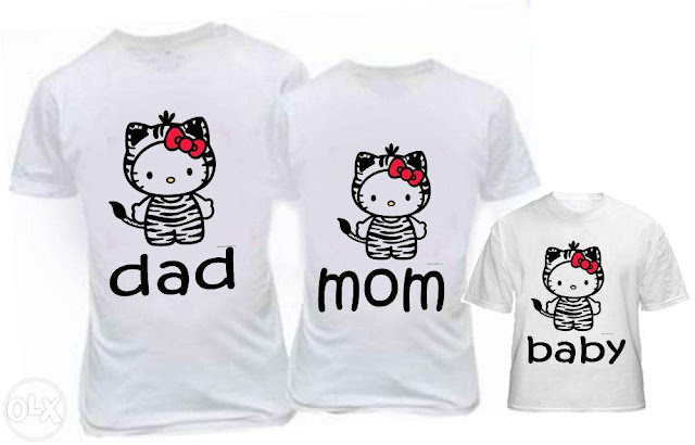 Desain Baju Keluarga Gambar Hello Kitty Murah