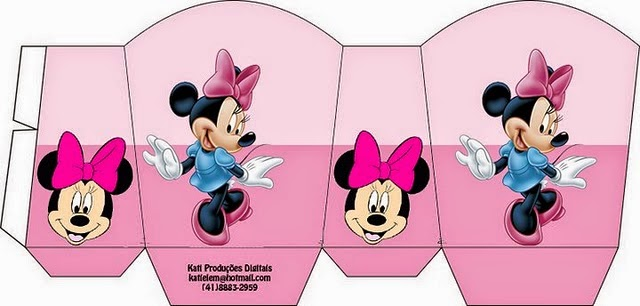 Minnie with Pink Background: Free Printable Basket.