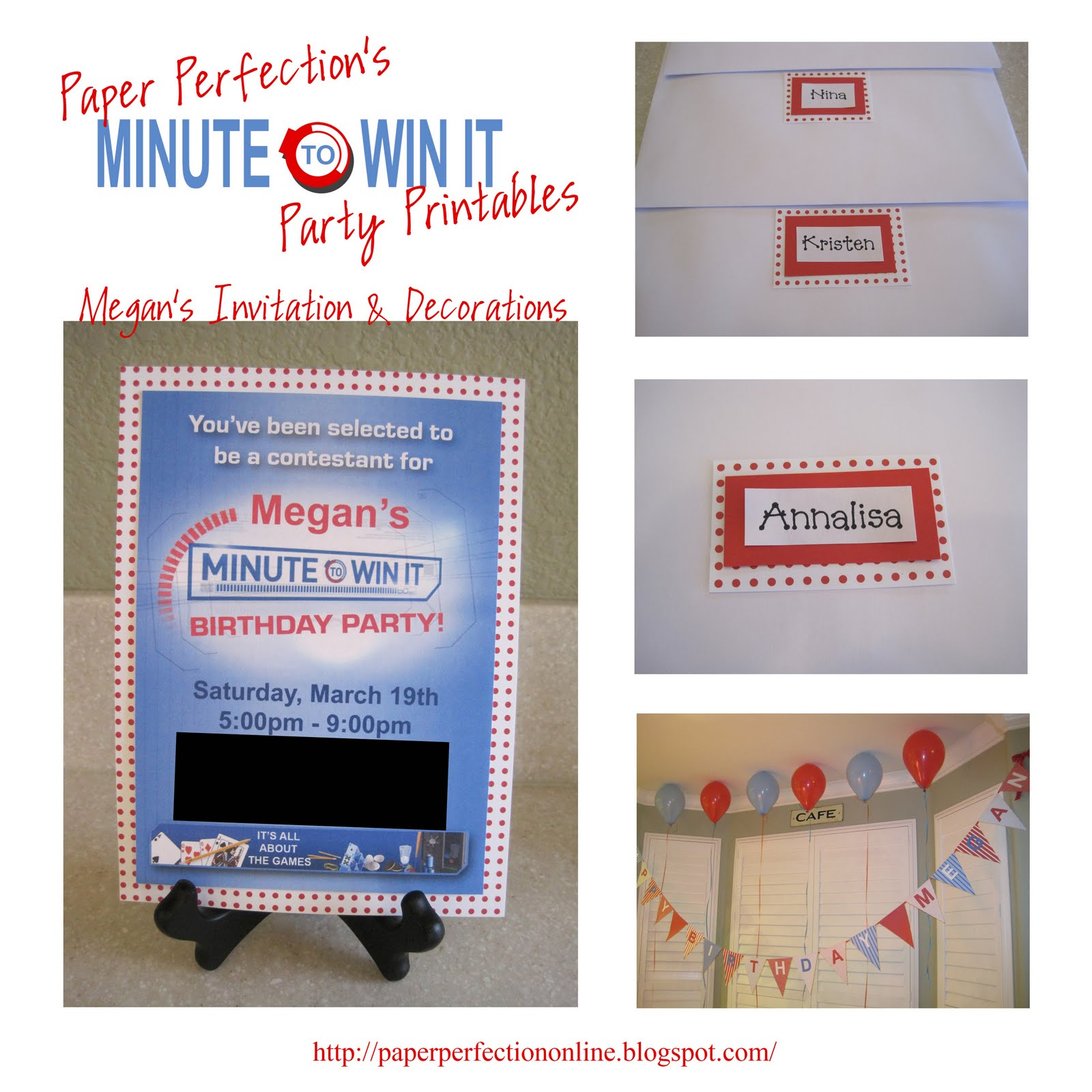 Paper Perfection Minute To Win It Party Decorations Favors and