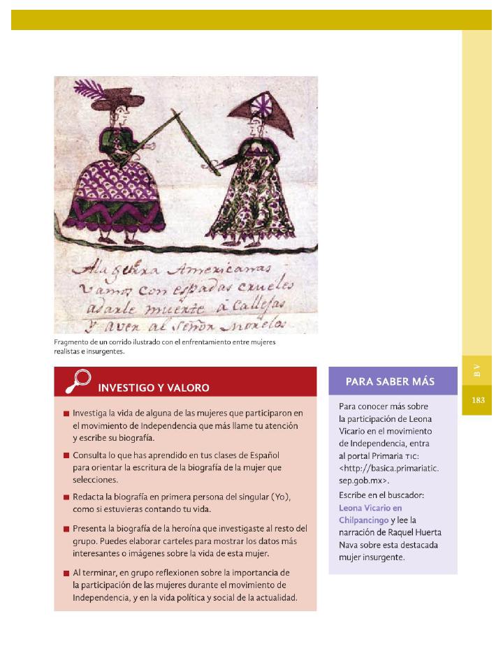 Las mujeres en el movimiento de Independencia - Historia 4to Bloque 5 2014-2015