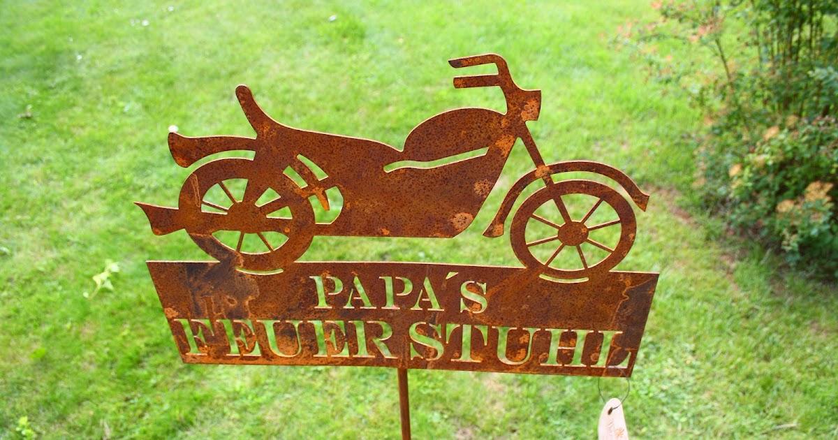 Gartendekoration aus metall gartendeko rostdeko geschenk f r motorradfans - Gartendekoration metall ...