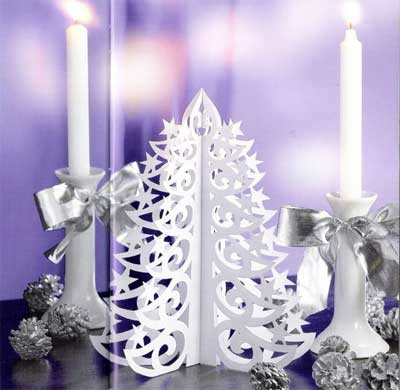 [A paper cutout Christmas tree for decoration]