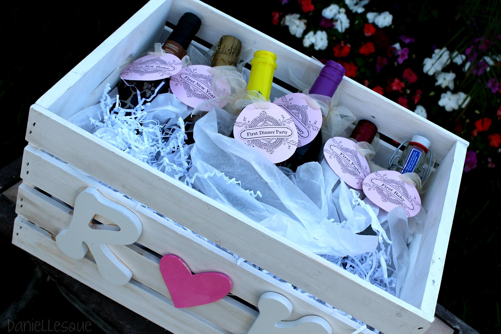 Bridal Shower Wine Gift Basket Ideas : daniellesque: Bridal Shower Gift: Basket of Firsts