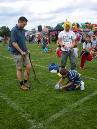 Action from Plot 68 at the Worm Charming Competition at St Mary's Village Carnival in 2011