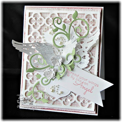 Our Daily Bread Designs Stamp sets: You Are My Angel, Our Daily Bread Designs Custom Dies: Angel Wings, Quatrefoil Pattern, Fancy Foliage, Pennants, Antique Labels and Border, Birds and Nest, Our Daily Bread Designs Shabby Rose Paper Collection