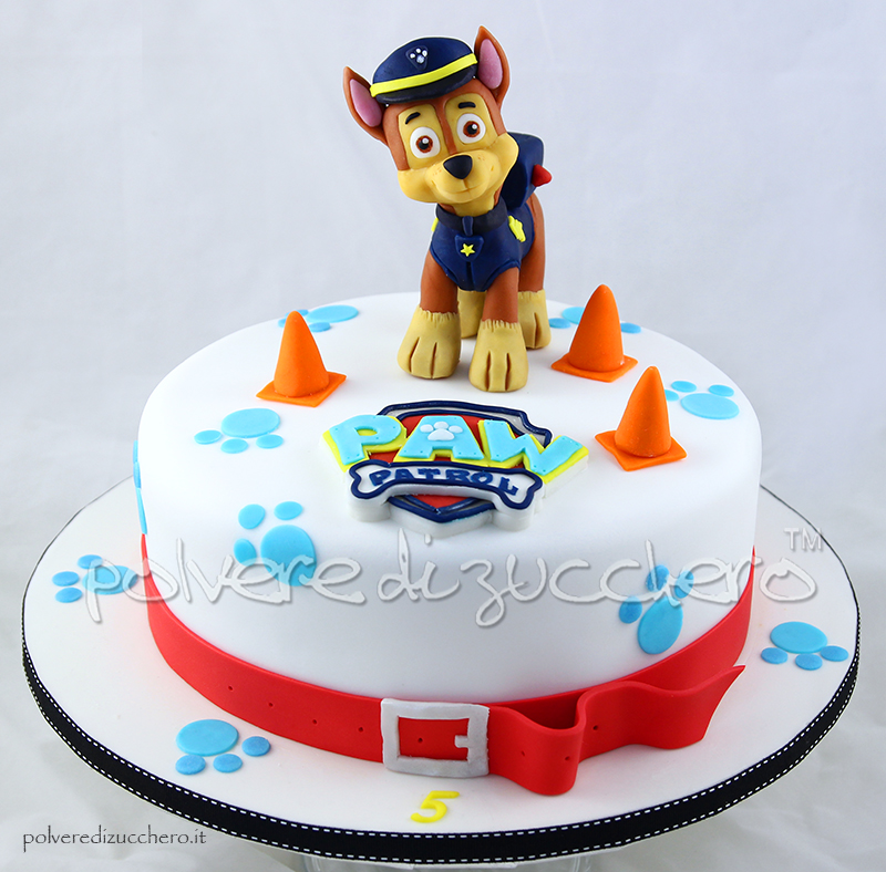 polvere di zucchero pasta di zucchero cake design paw patrol chase cartoni animati