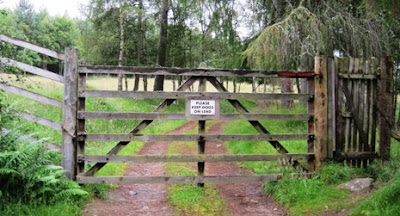 Gate on the forest path on Craig Vallich, Deeside walks