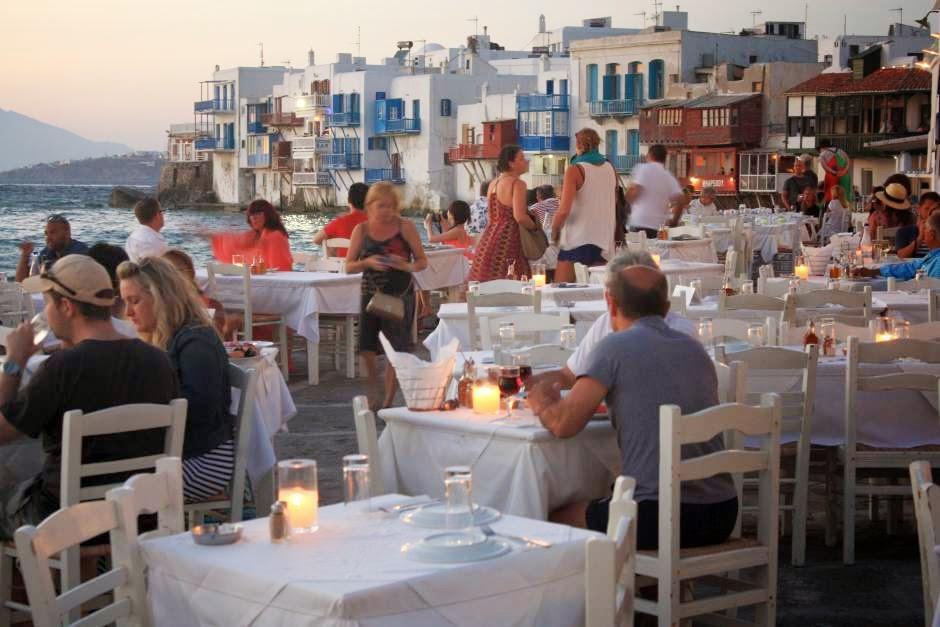Restaurant in Little Venice in Mykonos
