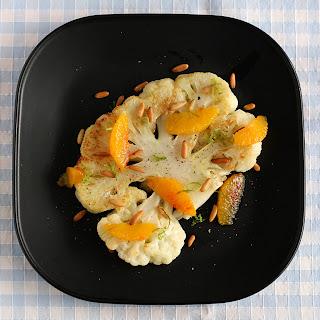 vegán vegetáriánus sült karfiol narancs menta borsmenta olaj mentaolaj pörkölt fenyőmag szerecsendió tonkabab zöldcitrom lime kaffir lime levél