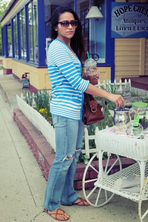 Striped Cardigan-GAP, Jeans-Miss Sixty, Footwear-zigi Soho, Bag-Mulberry, Tanvii.com