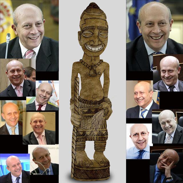 la sonrisa de Wert, ministro cultura, talla, madera, Congo, Wert, yuyu, sonrisa, parecidos razonables, dibujo