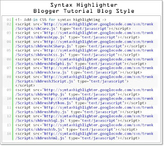 Syntax Highlighter, cara buat Syntax Highlighter, cara pasang Syntax Highlighter, Syntax Highlighter blog, Syntax Highlighter blogspot, Syntax Highlighter blogger