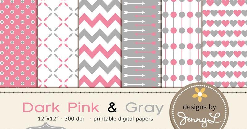Jennyl Designs Digital Papers Clipart Digital Scrapbooking Overlays Freebie 1 Dark Pink And Grey Digital Paper