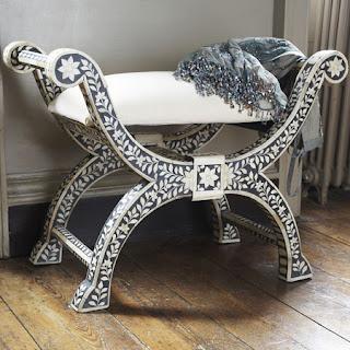 Bone Inlay Stool | Mother Of Pearl Inlay Stool | Bone Inlaid Furniture