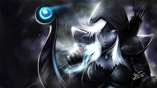 Drow Ranger DOTA 2 Arrow Icy Bow White Hair Eyes Hood Girl Video Game HD Wallpaper Desktop PC Background 1295
